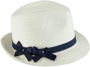 Cappellino modello panama in rafia con nastrino sarabanda NAVY-3547