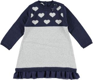 Abito in tricot con cuori e filo lurex sarabanda NAVY - 3854