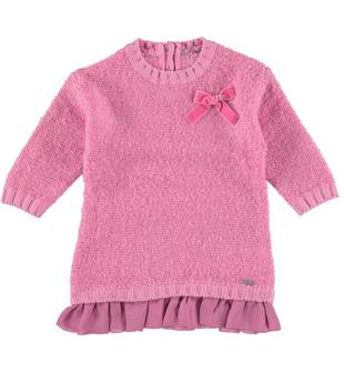 Abito in tricot bouclè con fiocco sarabanda CICLAMINO - 2812