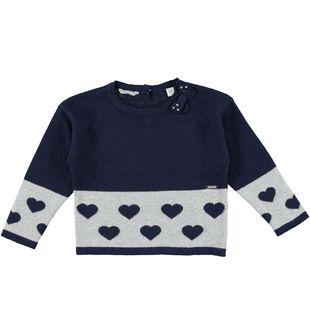 Maglia in tricot con filato lurex e cuori sarabanda NAVY - 3854