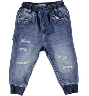 Pantalone bambino in felpa effetto denim delavato e strappato sarabanda STONE WASHED - 7450