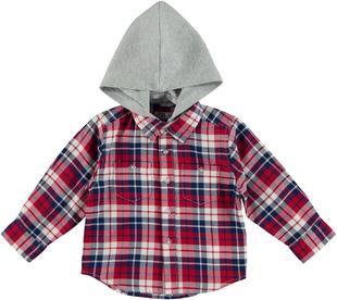 Camicia bambino in fantasia a quadri in twill tinto filo sarabanda ROSSO - 2259