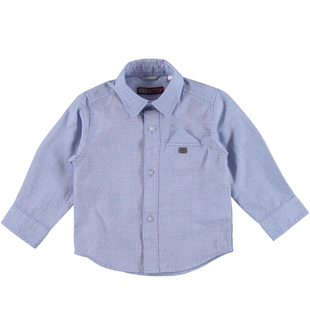 Camicia classica in tessuto fil a fil jacquard per bambino sarabanda AVION - 3621