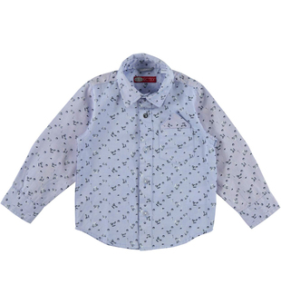 Camicia bambino a manica lunga in oxford sarabanda AZZURRO-BLU - 6N99