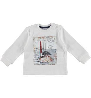Maglietta in interlock 100% cotone con cucciolo sarabanda PANNA-0112