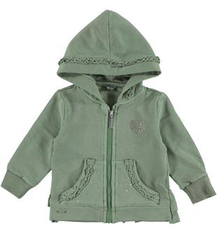Felpa per bambina effetto delavato con rouches sarabanda VERDE SALVIA - 4715