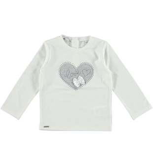 T-shirt a manica lunga con cuore ricamato  PANNA-0112