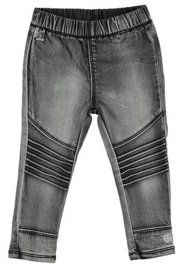 Pantalone bambina in cotone con pieghe impunturate sarabanda NERO - 7990