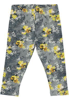 Leggings bambina fantasia floreale con cuore di borchie alla caviglia sarabanda PANNA-OCRA - 6N95