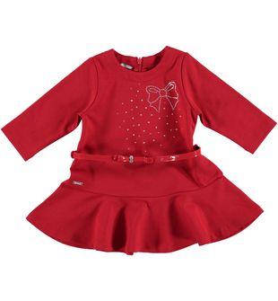 Vestitino bambina in punto milano taglio vita bassa sarabanda ROSSO - 2253