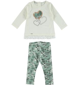Completo maxi maglietta e leggings con stampa effetto mimetico sarabanda PANNA - 0112