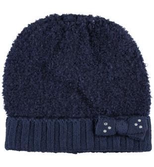 Cappello modello cuffia per bambina in misto lana bouclè sarabanda NAVY - 3854