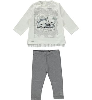 Completo maxi maglietta e leggings con orsetti polari sarabanda PANNA-0112