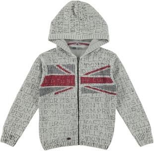 Felpa per bambino in tricot di cotone con cappuccio sarabanda GRIGIO-NERO - 6R12
