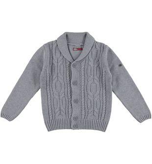 Cardigan per bambino in tricot misto cotone e lana sarabanda GRIGIO - 8961