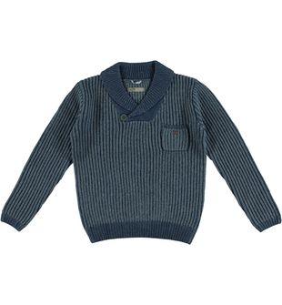 Maglia per bambino in tricot con collo rever sarabanda NAVY - 3657