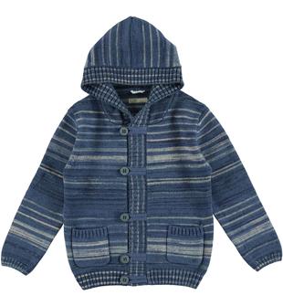 Cardigan bambino in tricot misto cotone e lana sarabanda NAVY-3657