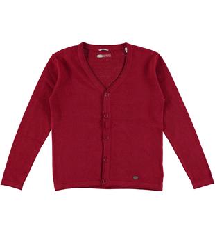 Cardigan per bambino in tessuto misto cotone e cachemire sarabanda BORDEAUX-2547