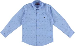 Camicia classica bambino 100% cotone fantasia jacquard sarabanda AZZURRO-MICROFANTASIA-6P63