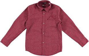 Camicia per bambino in popeline stretch di cotone sarabanda PANNA-BORDEAUX-6N92