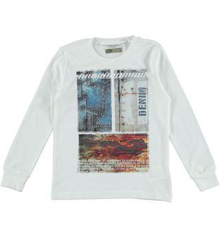 Maglietta bambino in interlock 100% cotone con stampa  PANNA-0112