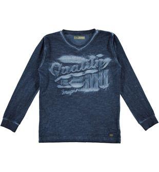 Maglietta bambino 100% cotone fiammato con scollo a V sarabanda NAVY-3854