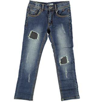 Pantalone bambino modello jeans slim fit con sabbiature  STONE WASHED-7450