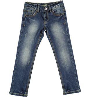 Pantalone jeans slim fit in cotone con sabbiature sarabanda SOVRATINTO BEIGE - 7180
