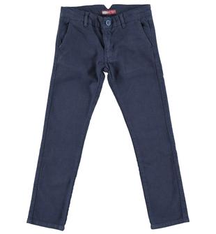 Pantalone bambino in elegante tessuto di cotone armaturato sarabanda NAVY - 3854