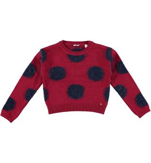 Versatile e comoda maglia corta a pois per bambina sarabanda BORDEAUX - 2537