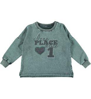 Maglietta bambina in felpa di cotone elasticizzato effetto delavato sarabanda VERDE MILITARE-4253
