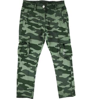 Pantalone per bambina con fantasia mimetica sarabanda VERDE-VERDE - 6P04