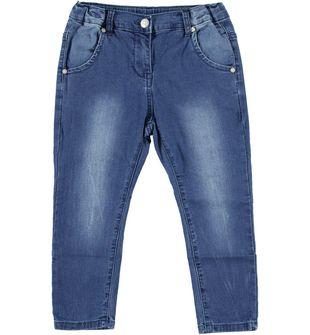 Pantalone bambina modello cavallo calato in felpa effetto denim sarabanda STONE WASHED - 7450