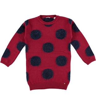 Vestito bambina in tricot misto cotone e lana con pois sarabanda BORDEAUX - 2537
