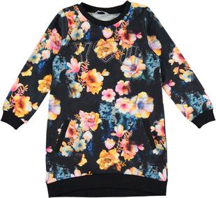 Vestitino bambina in felpa floreale con collo girocollo sarabanda BIANCO-NERO-FIORI - 6N72