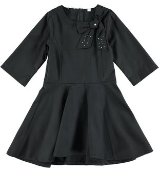 Vestito per bambina in misto viscosa con gonna a ruota sarabanda NERO - 0658