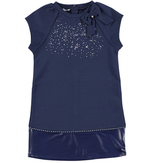 Elegante vestitino bambina a manica corta raglan sarabanda NAVY - 3854