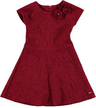 Elegante vestitino bambina in raffinato tessuto goffrato sarabanda BORDEAUX - 2537