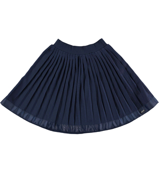 Gonna plissettata con fondo bordato in fettuccia gros grain  NAVY-3854