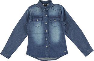 Camicia bambina in denim stretch effetto delavato sarabanda STONE WASHED-7450