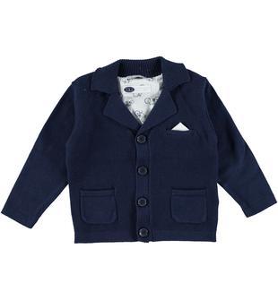 Elegante cardigan in tricot 100% cotone sarabanda NAVY-3854