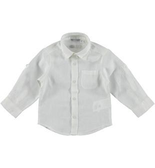 Camicia a manica lunga 100% lino sarabanda BIANCO-0113