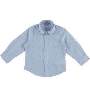 Camicia bastonetto bianco e azzurro 100% cotone sarabanda AVION-3621