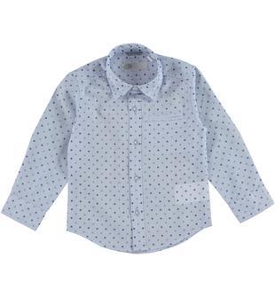 Classica camicia in raffinato tessuto fil a fil stampato sarabanda AZZURRO-BLU-6T65