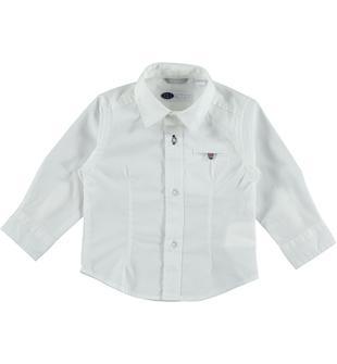 Camicia avvitata in popeline stretch di cotone sarabanda BIANCO-0113