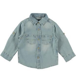Camicia in denim leggero effetto delavato arricchito da sabbiature sarabanda BLU CHIARO LAVATO-7310