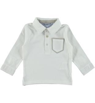 Polo in jersey 100% cotone con colletto e polsi modello camicia sarabanda PANNA-0112