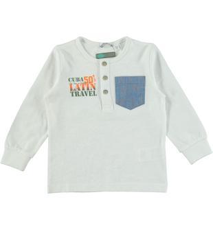 Maglietta a manica lunga in jersey malfilè 100% cotone sarabanda BIANCO-0113