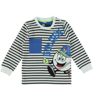 Maglietta in jersey 100% cotone tinto filo con simpatica serigrafia sarabanda NERO-0658