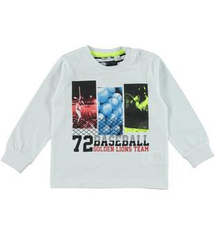 Maglietta in jersey di cotone con serigrafia ispirata al baseball sarabanda BIANCO-0113